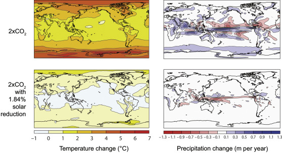 Model-simulated (Caldeira and Wood, 2008) annual mean changes in temperature ...