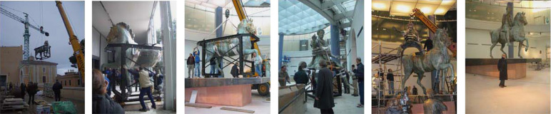 Images illustrating the moving and assembling of the equestrian statue of Marcus ...