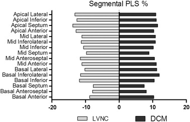 Segmental deformation values in LVNC and DCM groups according to the 16-segment ...