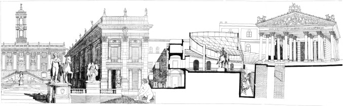 Carlo Aymonino׳s ideal reconstruction of the Temple of Capitoline Jupiter in ...