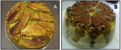 Two types of Iranian tahchin. (A) Fish-tahchin. (B) Chicken-tahchin.