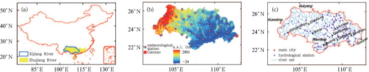 (a) Geographic location of the Zhujiang and Xijiang River Basins, (b) elevation ...