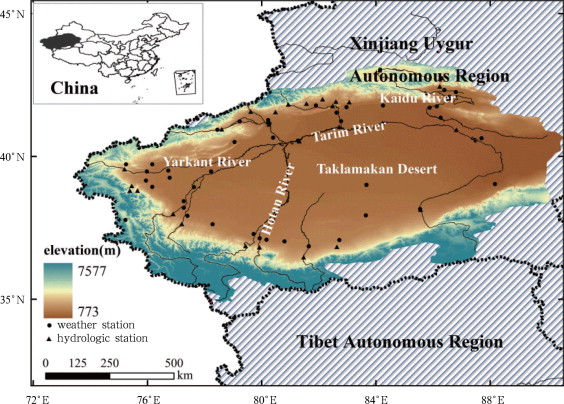 The Tarim River Basin in Northwest China and locations of meteorological and ...