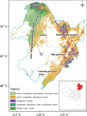The location and distribution of main forests in Northeast China (based ...