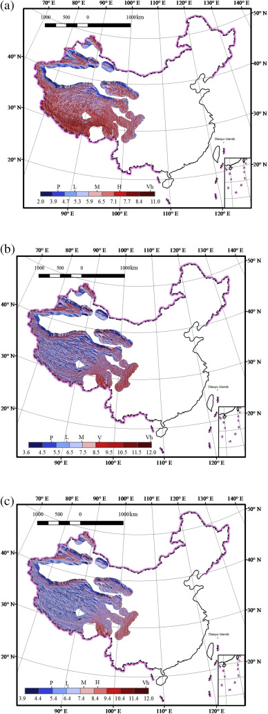 Glacier vulnerability level and distribution in China in (a) 1961–2007, (b) the ...