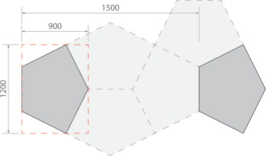 The fixed dimensional structure of the pentagons showing shape, orientation and ...