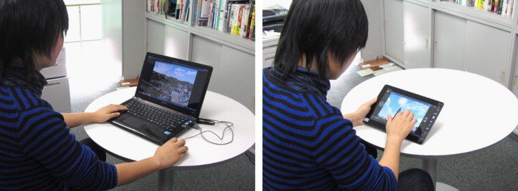 Use of cloud-VR: windows laptop (left), android tablet (right).