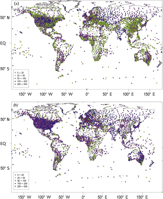 Spatial distribution for stations with time span in (a) GHCN-V3, and (b) CRUTEM3 ...