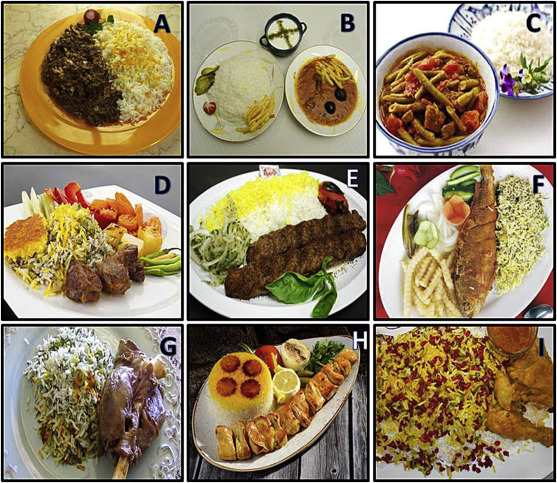 The most popular and common ethnic and traditional rice-based foods in Iran. (A) ...