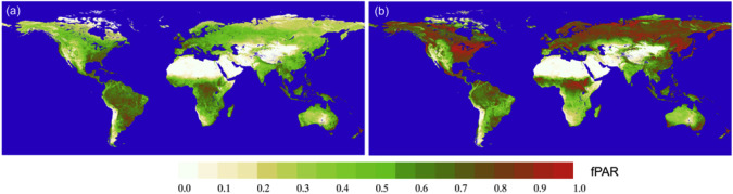 Spatial patterns of global fPAR,. (a) annual averaged fPAR in 2006, and (b) ...