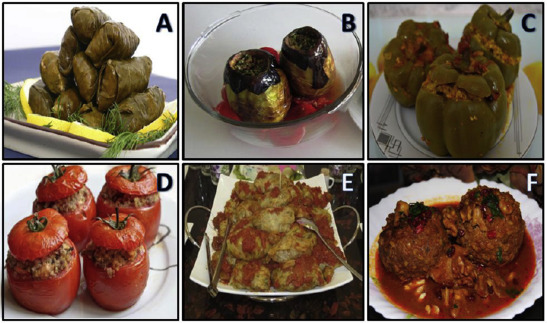 Some types of traditional rice-based stuffed vegetable and kofta. (A) Stuffed ...