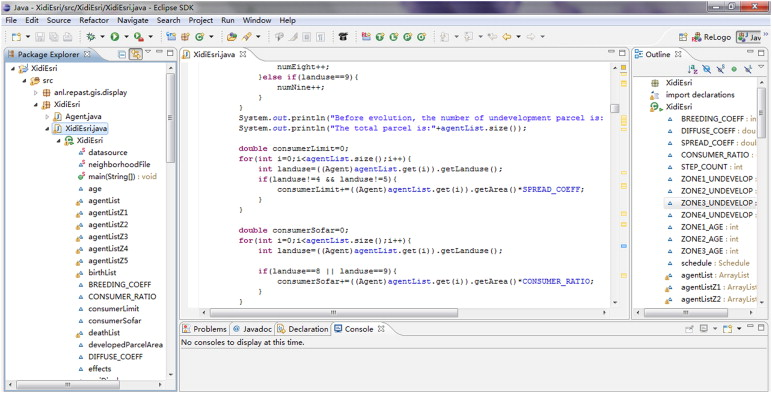 RePast programming environment of Eclipse.