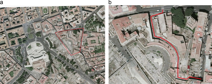 (a and b) Site of Trajan׳s Market within the historical center of Rome; Ancient ...
