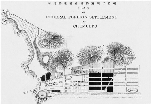 Map of the Chinese Concession in Incheon, 1884.