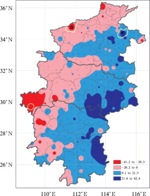 Spatial distribution of linear trends in annual precipitation in Central China ...