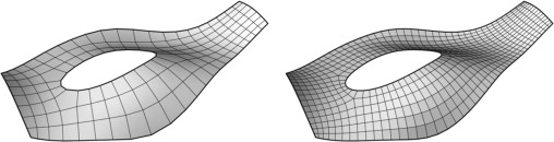 Mesh smoothing (left) smoothed BDMesh (right) smoothed quadrangulated BDMesh.