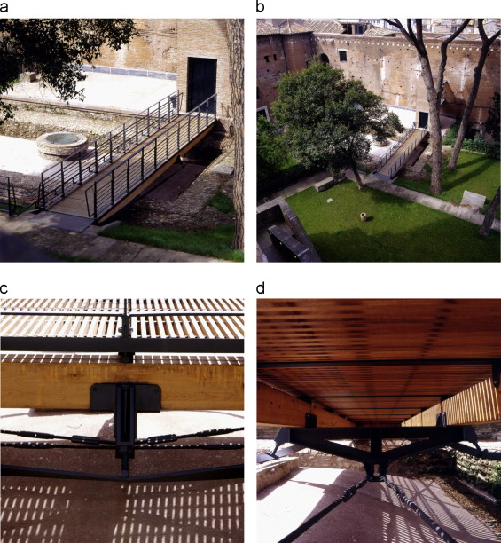 (a–d) Catwalk within the Giardino delle Milizie as seen from above; Details of ...