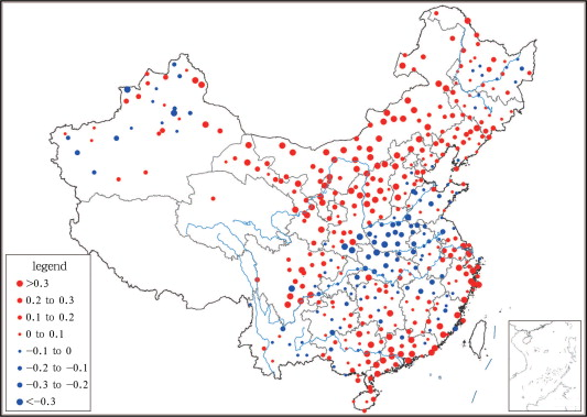 The linear trends of heat wave frequency in China from 1961 to 2010 (unit: times ...