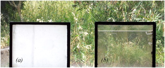Visual appearance of the PCM glazing: with PCM in solid state (a), and with PCM ...
