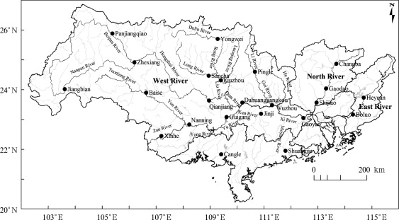 Geographic distribution of the 23 gauging stations in the Pearl River Basin