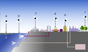 Schematic diagram illustrating carbon dioxide removal approaches: a—ocean ...