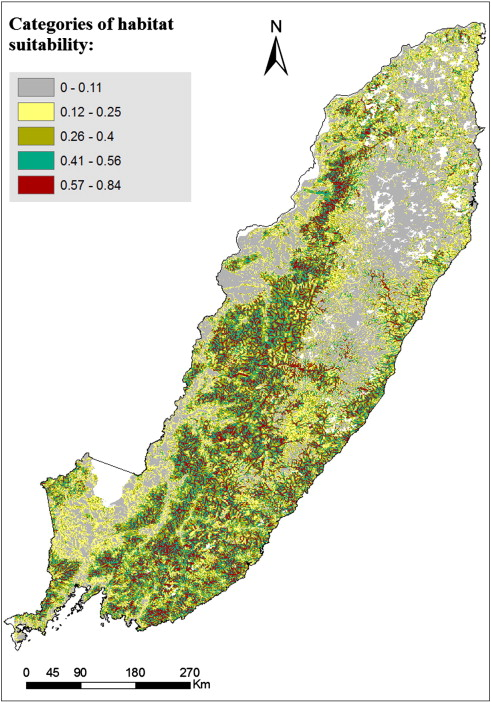 Predictive map of suitable habitats within the Amur tiger range based on model ...