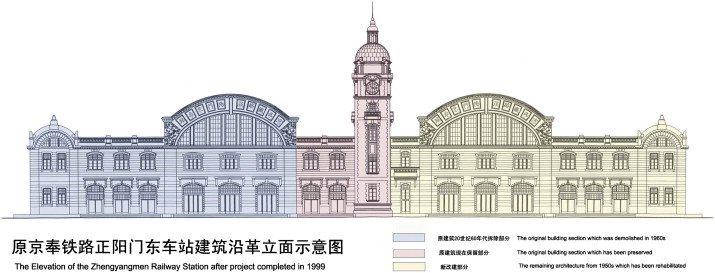 Reconstruction of Zhengyangmen Eatsrern Railway Station, now used as National ...
