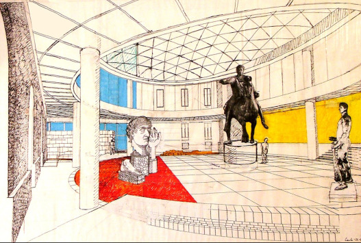 Carlo Aymonino׳s perspective of the new Hall with the equestrian statue of ...