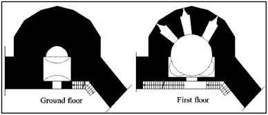 Semi-circular outer surface of Tower A, in the citadel.