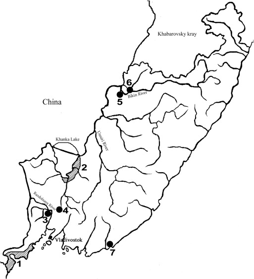 Distribution of the Chinese penduline tit in Primorye in 2014. 1 — Khasan ...
