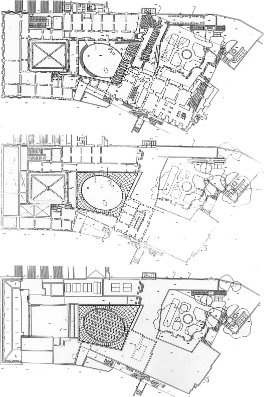 Top to down: plans of the first floor and roof of the new Hall for the statue of ...