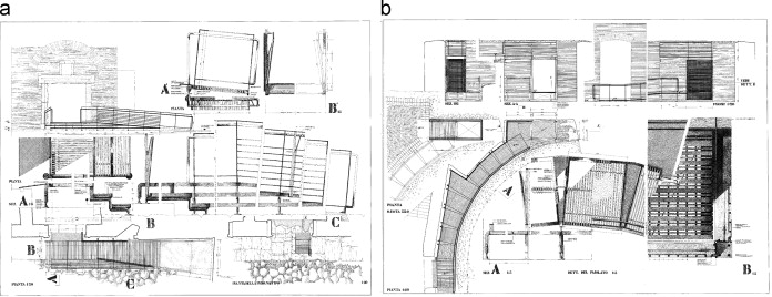 (a and b) Schematics of the catwalks, ramps, and stairs along the visiting path.