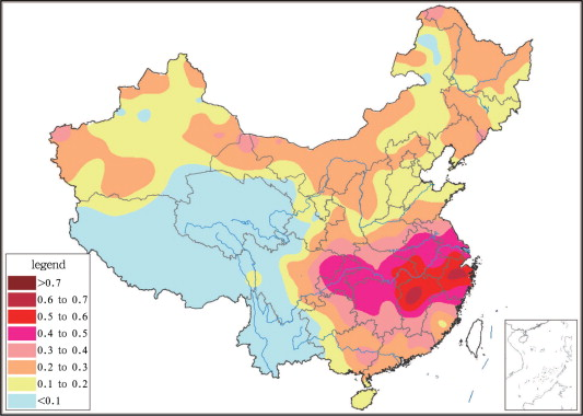 The distribution of annual heat wave frequency in China (1961–2010 means)