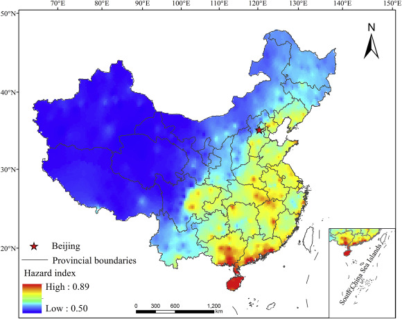 Spatial variation of hazard index of floods in China.