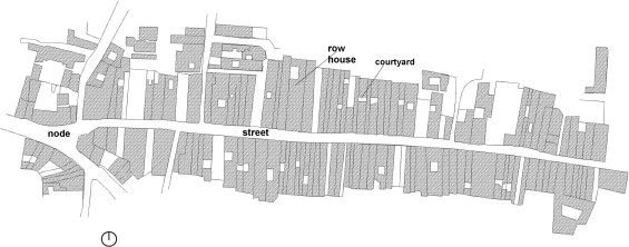 Layout of row houses at Shankhari Bazaar in 2006 (Ahmed, 2012).