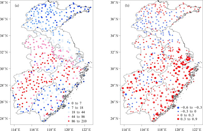 Spatial distribution of heat wave cumulative frequency (a) and the linear trends ...