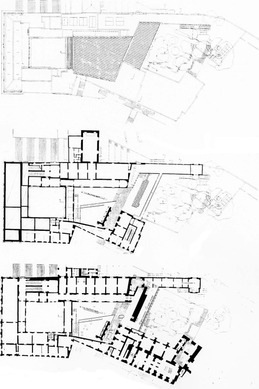 Down to top: plans for the first, second, and roof levels of the new Hall of the ...