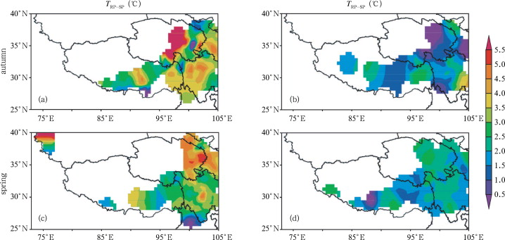 Spatial distribution of the mean daily air temperature differences between RP ...
