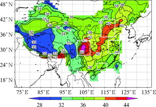 Climatological distribution of the TOR over China 15°–49.5°N during 1979–2005 ...