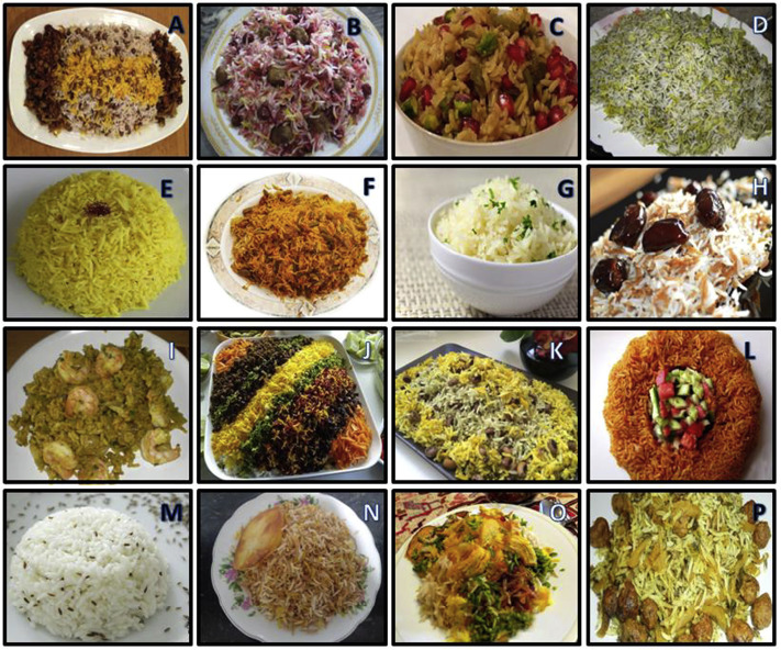 Some types of Iranian cooked rice or mixed pilaf. (A) Lentil-pilaf. (B) Sour ...