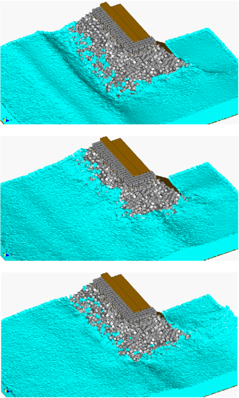 Study of breaking waves on the edge of a breakwater structure formed by reinforced concrete blocks