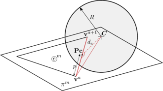 Intersection of a DE particle with an edge.
