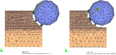 Example of application of the PFEM to the excavation of a soft soil mass with a rotating disc