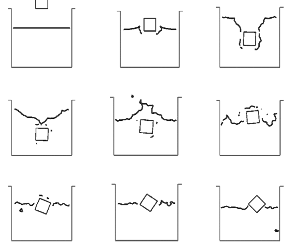 Square falling into a recipient with water. The square is modelled as a rigid solid. Motion of the square and free surface positions at different time steps.