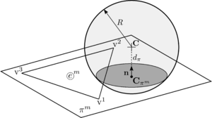 Intersection of a DE particle with a plane formed by a planar FE.