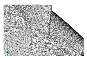 Detail of the mesh used in the analysis of the E0D0 case, around keel-bulb union