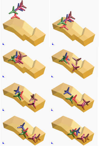 Motion of five tetrapods on an inclined plane