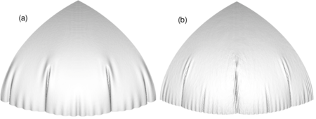 Inflation of a circular airbag. Deformed configurations for final pressure. (a) bending effects included (b) membrane solution only