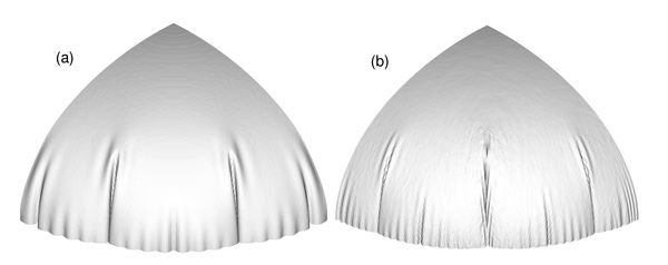 Inflation of a circular airbag. Deformed configurations for final pressure. (a) bending formulation; (b) membrane formulation.