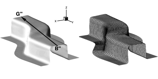 Stamping of a S-rail. Final deformation of the sheet after springback obtained in the simulation. The triangular mesh of the deformed sheet is also shown